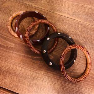 Mixed Group of Five Wood Bangle Bracelets